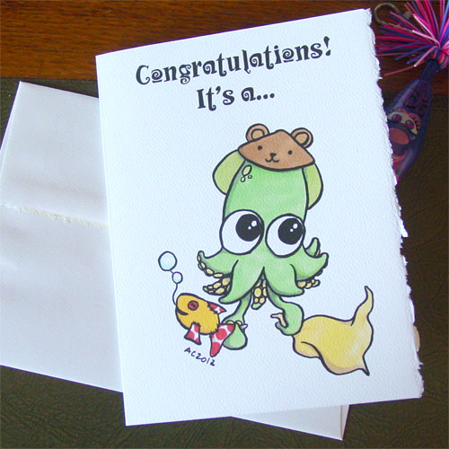 Baby Squid greeting card by Amy Crook