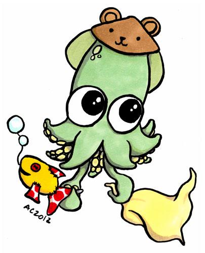 Baby Squid, cartoon art by Amy Crook