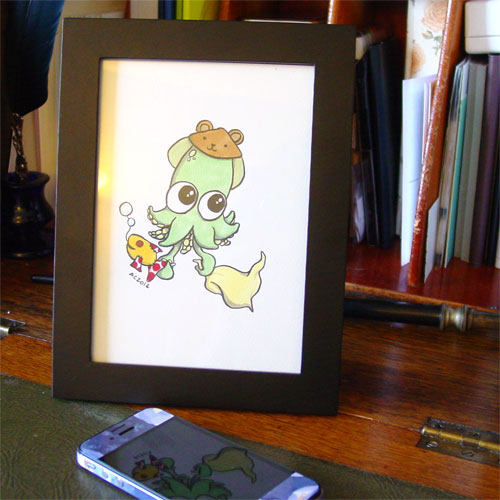Baby Squid, framed art by Amy Crook