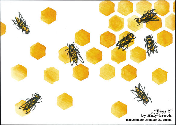 Bees 2, ink art by Amy Crook