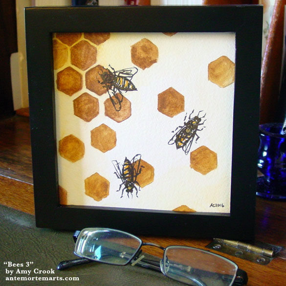 Bees 3, framed art by Amy Crook
