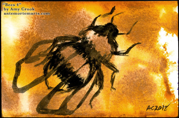 a loose brush painting of a bee on a background of honey-gold splotches, watercolor by Amy Crook