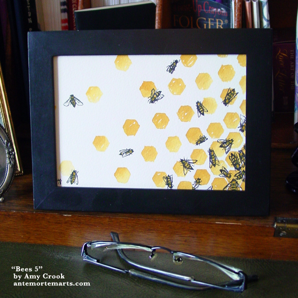 Bees 5, framed art by Amy Crook