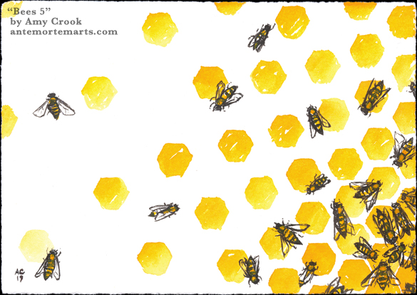 Bees 5 by Amy Crook, acrylic ink painting of busy bees on a semi-abstract honeycomb pattern