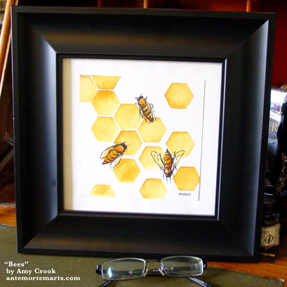 Bees, framed art by Amy Crook