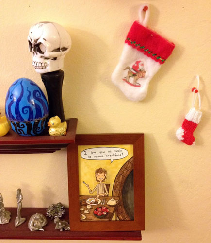 Bilbo hanging out with my other holiday decor
