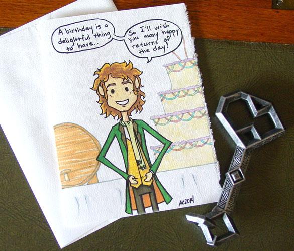 Many Happy Returns, a Bilbo Baggins birthday card by Amy Crook at Etsy