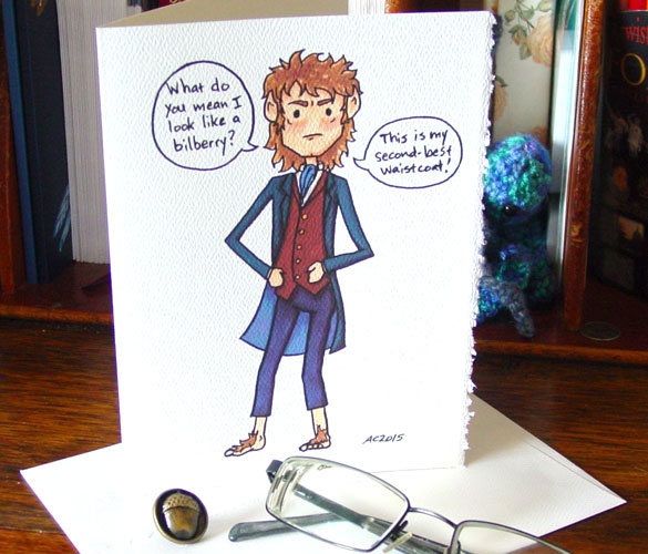 Bilbo the Bilberry blank greeting card by Amy Crook at Etsy