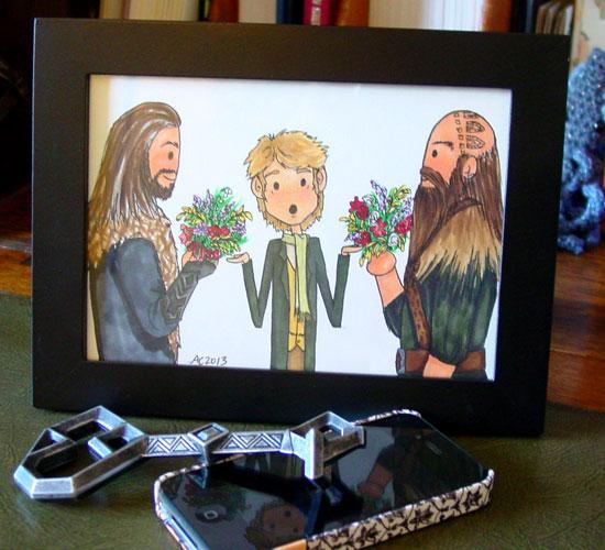 Flowers for Bilbo, framed art by Amy Crook