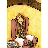 Tea at Bag End, 5x7 pen and ink and Copic marker on paper by Amy Crook