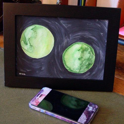 Binary Green, framed art by Amy Crook