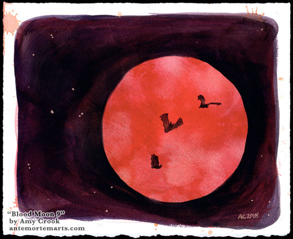 Blood Moon 9 by Amy Crook, 3 bats flying against a red full moon on a violet sky with gold stars