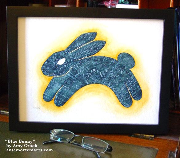 Blue Bunny, framed art by Amy Crook
