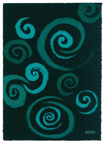 Blue-Green Spirals, abstract watercolor by Amy Crook