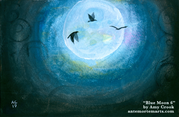Blue Moon 6 by Amy Crook, three crows flying against a blue near-full moon in a swirling dark sky