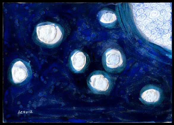 Blue Moon, watercolor painting by Amy Crook