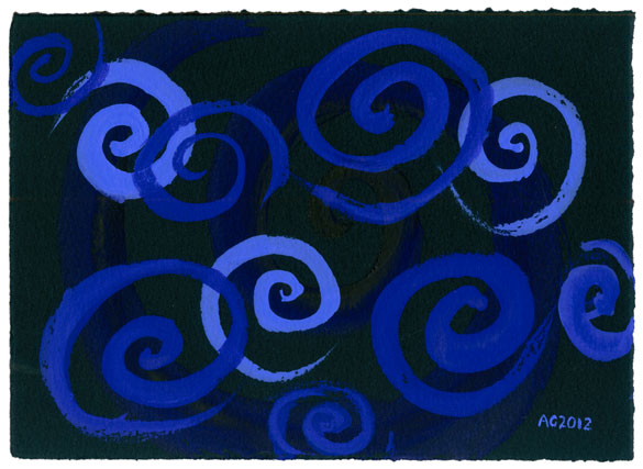 Blue-Violet Spirals, abstract art by Amy Crook