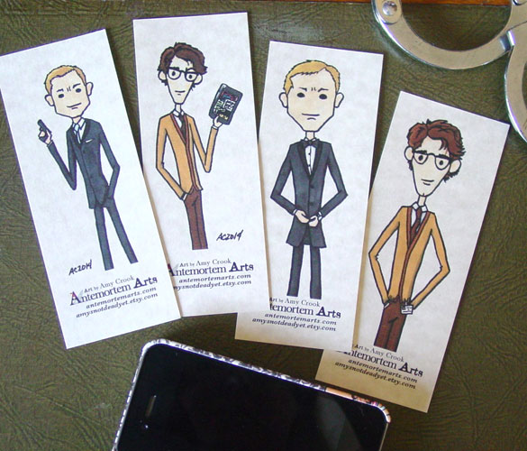 4 Bond bookmarks by Amy Crook at Etsy