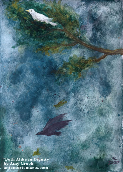 a watercolor painting of a dove in a branch, a flying crow, and a stormy sky behind them both, by Amy Crook