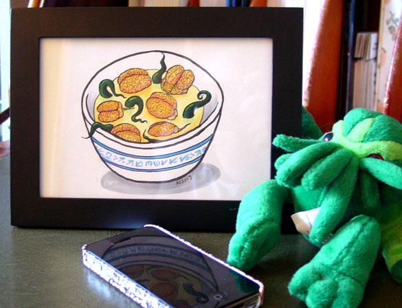 Brainton Soup, framed art by Amy Crook