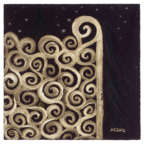 Brass Gates to Midnight, watercolor by Amy Crook