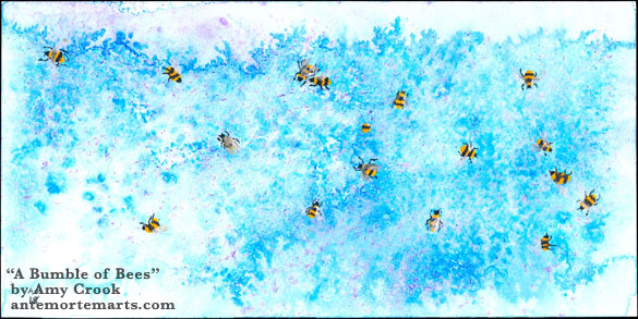 A Bumble of Bees by Amy Crook, 17 bees with iridescent wings bumble around a background of abstract hydrangeas