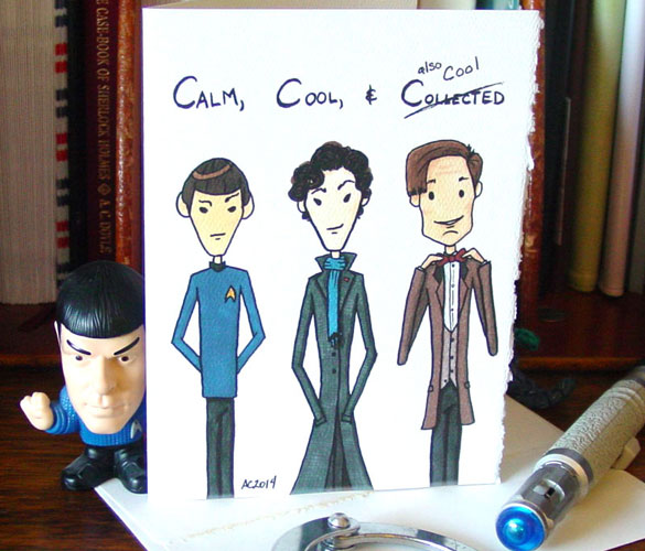 Spock, Sherlock and Doctor Who card by Amy Crook at Etsy