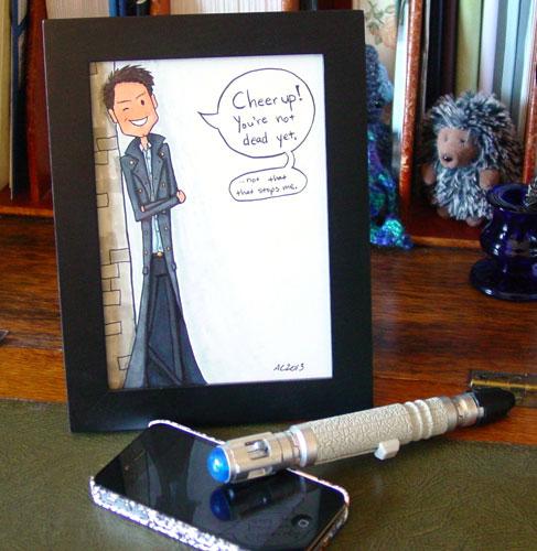 Not Dead Yet, framed Doctor Who fan art by Amy Crook