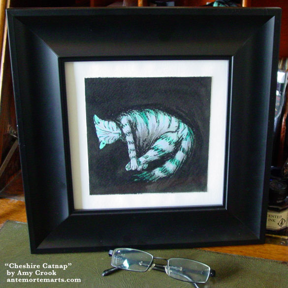Cheshire Catnap, framed art by Amy Crook