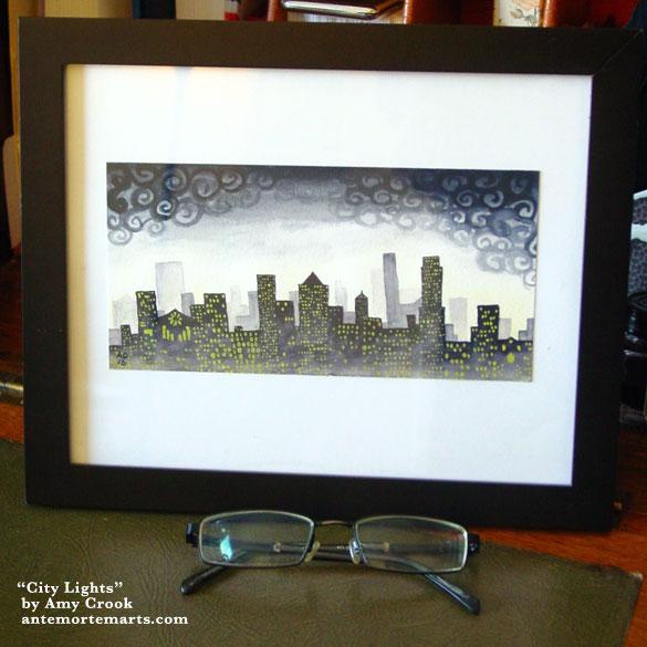 City Lights, framed art by Amy Crook