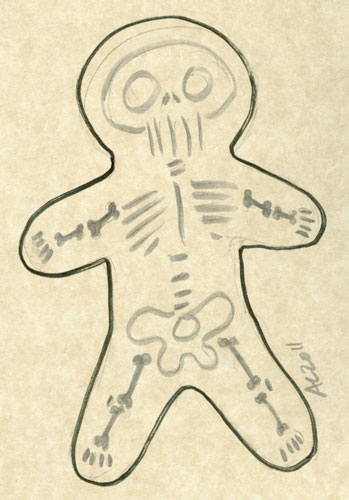 Gingerbread Skellington sketch by Amy Crook