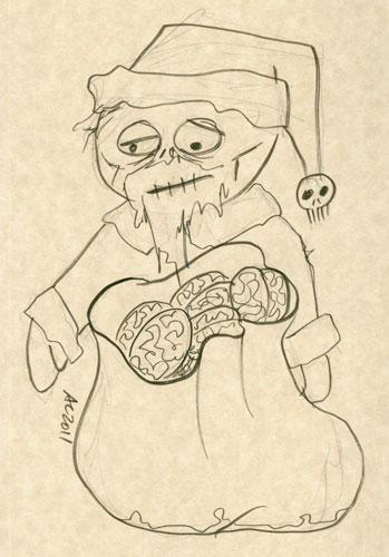 Zombie Santa sketch by Amy Crook