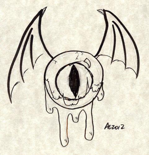 Flying Eyeball sketch by Amy Crook