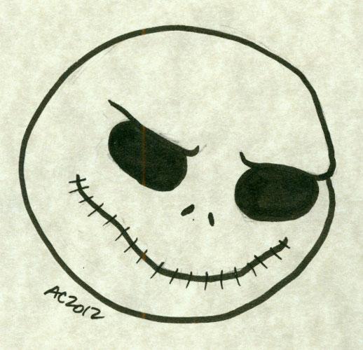 Skellington Jack face sketch by Amy Crook
