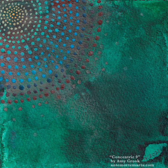 an abstract watercolor painting of a series of concentric circles of dots on a green background