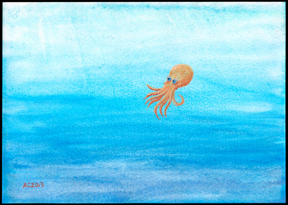 Copper Octopus watercolor by Amy Crook