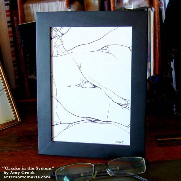 Cracks in the System, framed art by Amy Crook