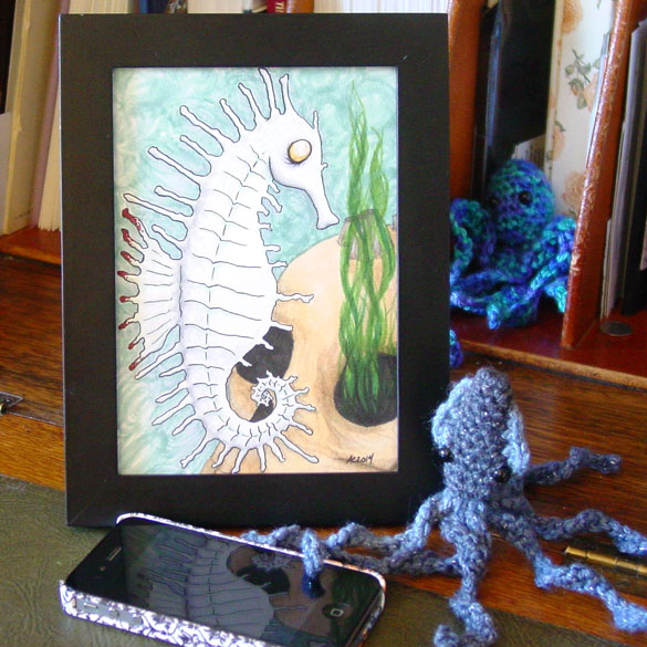 Lurker in the Depths, framed art by Amy Crook