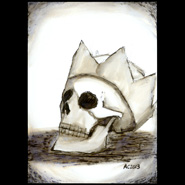 Crowned Skull, 5x7 pen and ink on paper by Amy Crook
