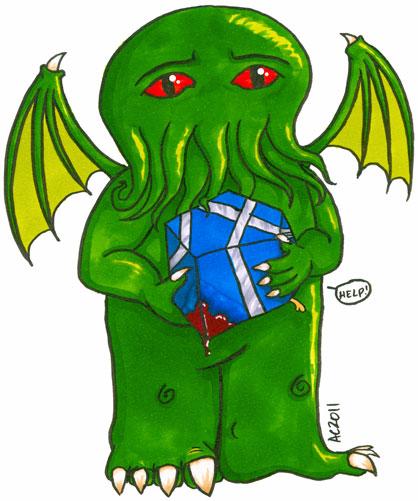 Cthulhu's Gift, cartoon art by Amy Crook