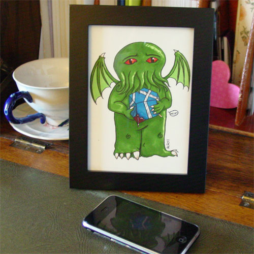 Cthulhu's Gift, framed art by Amy Crook