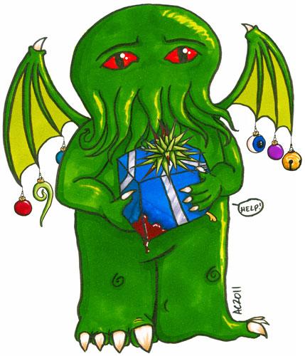 Cthulhu's Holiday Gift, cartoon art by Amy Crook