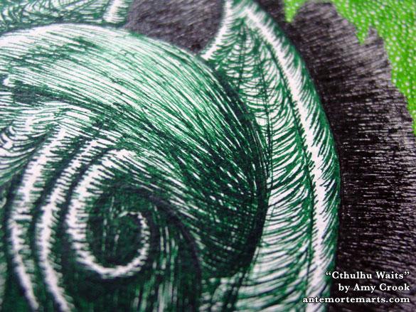 Cthulhu Waits, detail, by Amy Crook
