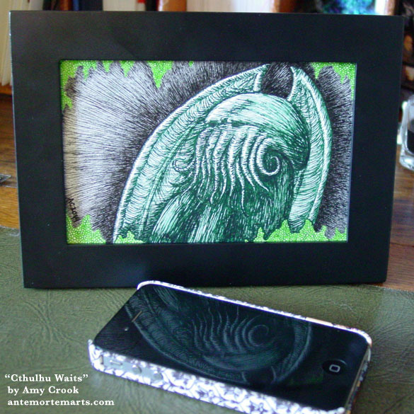 Cthulhu Waits, framed art by Amy Crook