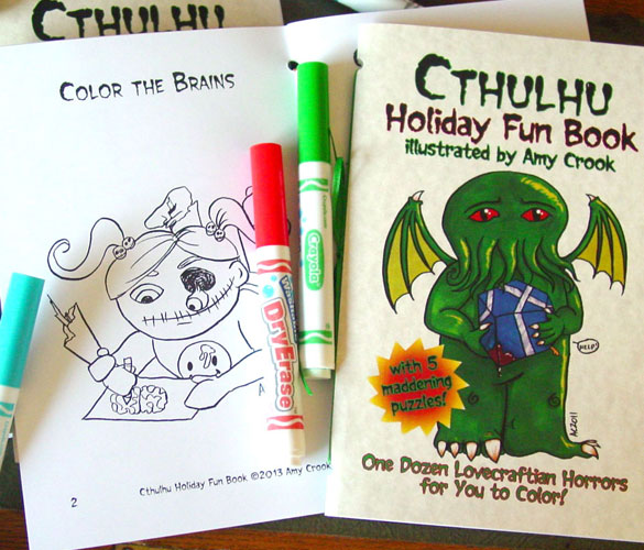 Cthulhu Holiday Fun Book, a Lovecraftian activity and coloring book by Amy Crook