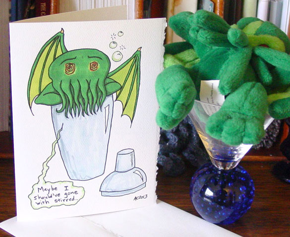 Drunk Cthulhu card on Etsy by Amy Crook