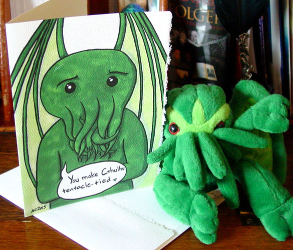 Tentacle-Tied, a Cthulhu Valentine by Amy Crook on Etsy