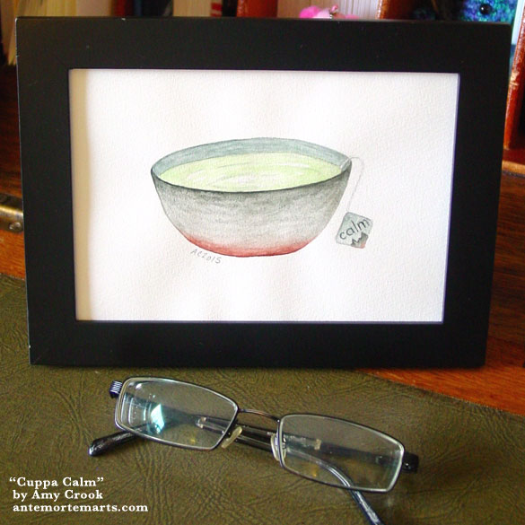 Cuppa Calm, framed art by Amy Crook