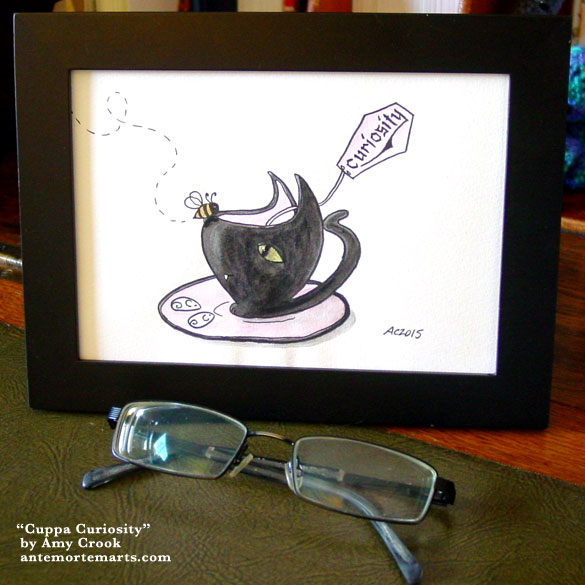 Cuppa Curiosity, framed art by Amy Crook