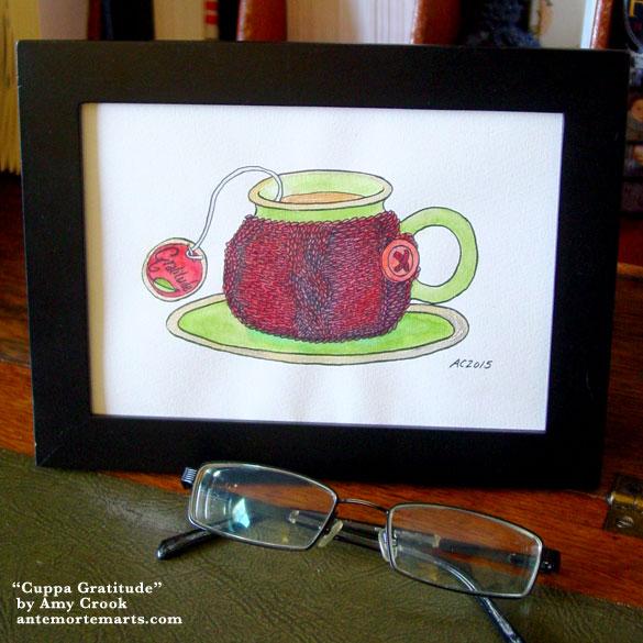 Cuppa Gratitude, framed art by Amy Crook